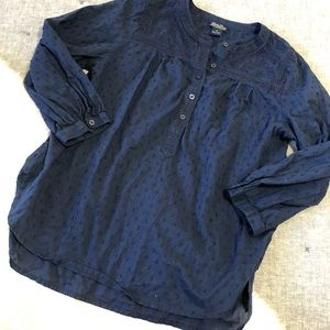 Lucky brand Swiss dot embroidered peasant top M